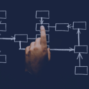 a hand pointing to a flow chart